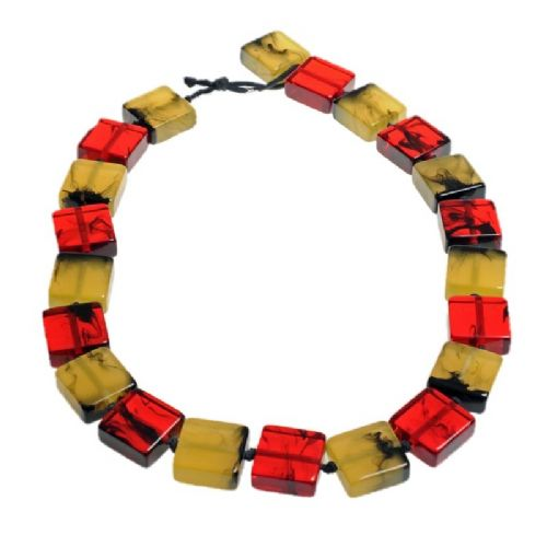 Jackie Brazil Liquorice Half cube necklace in Tortoise Mix